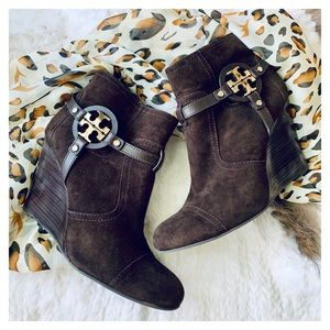 Tory Burch suede leather logo booties size 10.5